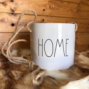 "Rae Dunn Rope Nautical Hanging ""Home"" Plant Pot"